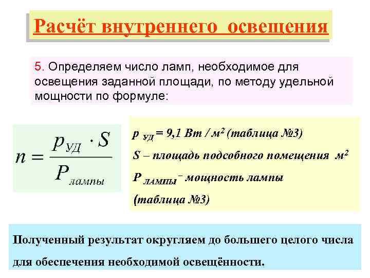 Расчет освещенности помещений - формулы и примеры, нормы и типы помещений