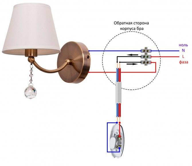 Светильник бра настенный с выключателем как подключить