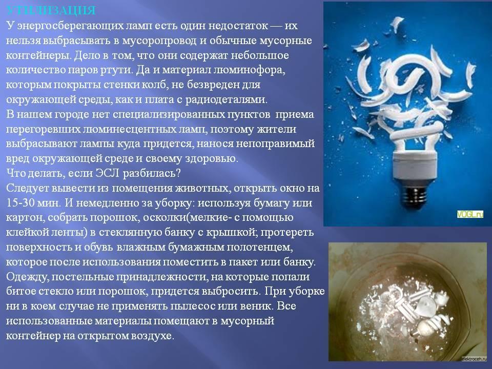 Сколько ртути в энергосберегающих лампах и что делать если она разбилась