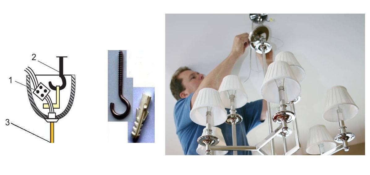 Как повесить люстру на крючок, если люстра с планкой?