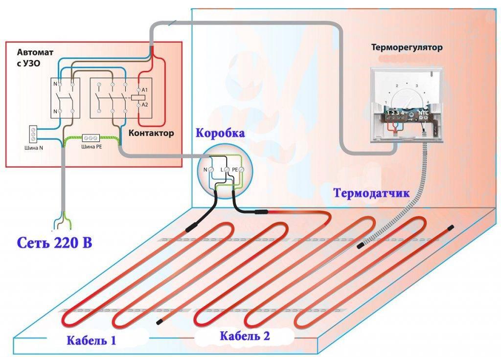 Подключение теплого пола к терморегулятору: как правильно подключить и настроить теплый пол, грамотная схема установки терморегулятора