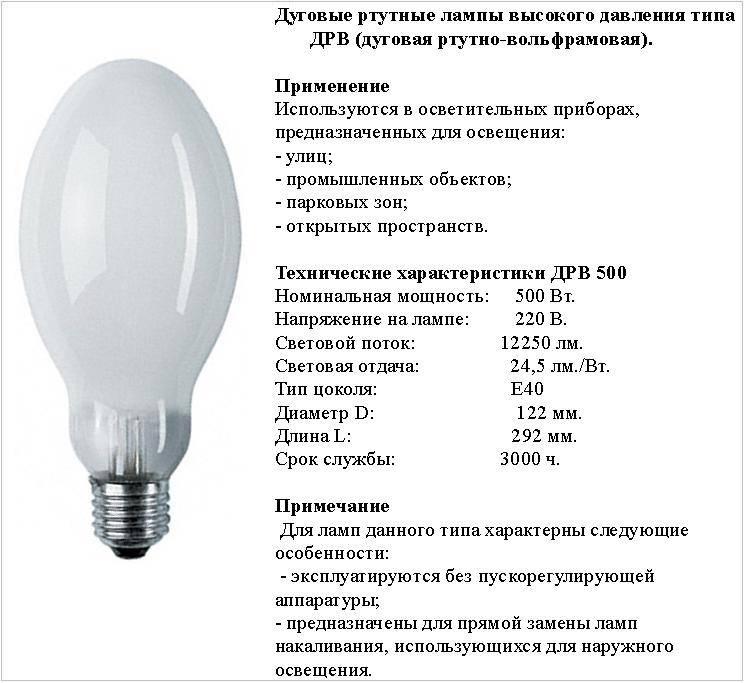 Описание и технические характеристики ламп дрв: преимущества и недостатки, сферы использования