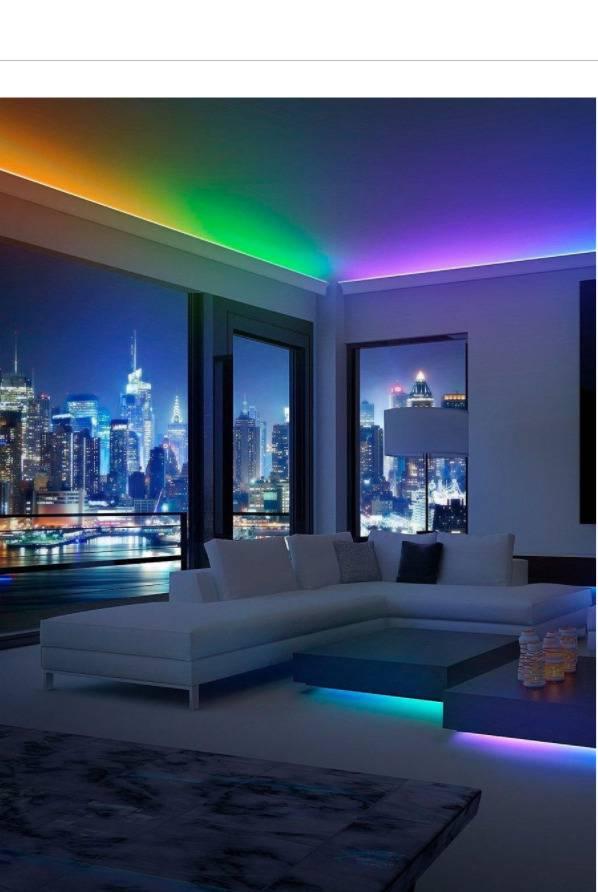 Неоновая подсветка в квартирах и домах > 50 фото-идей – неоновое освещение потолка, пола, в гостиной, кухне и др.