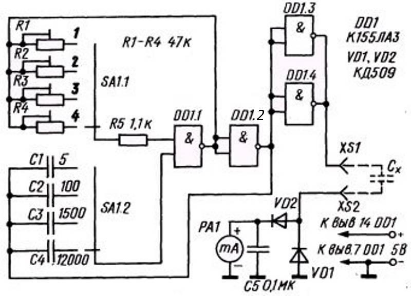 Как измерить емкость мультиметром