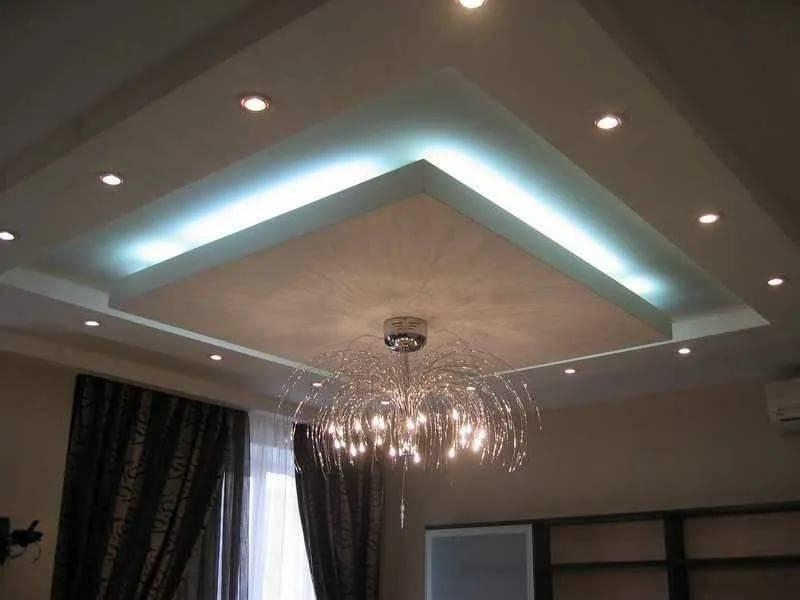 Потолок из гипсокартона с подсветкой – фото.