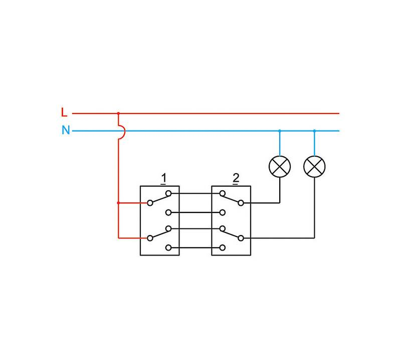 Lexman схема подключения проходного двухклавишного выключателя