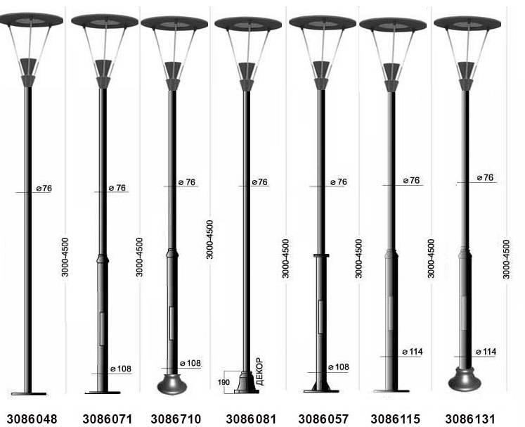 Расстояние между столбами освещения