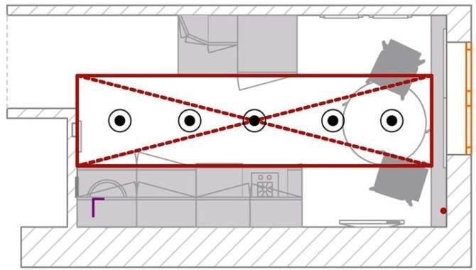 Примеры освещения на кухне с натяжным потолком