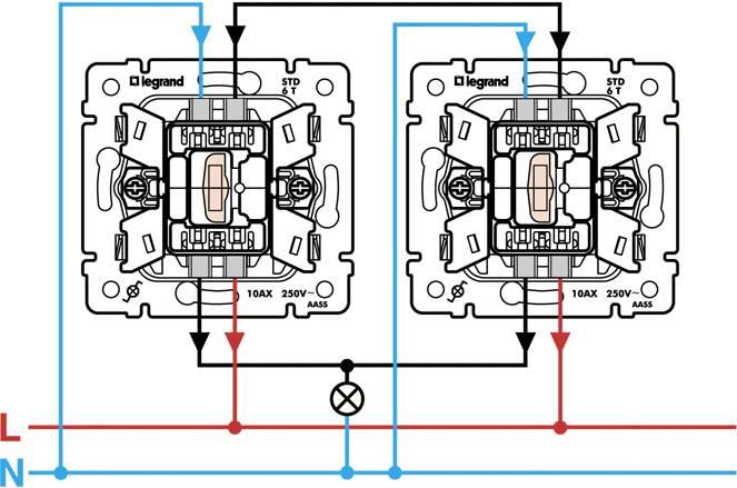 Схема подключения проходного выключателя: одноклавишного, двухклавишного
