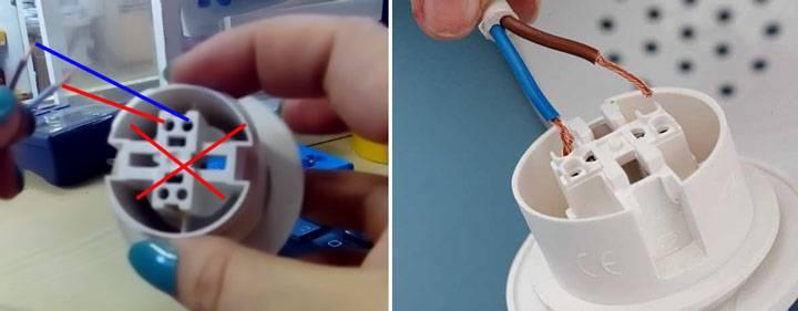 Подключение патрона для лампочки к трехжильному кабелю