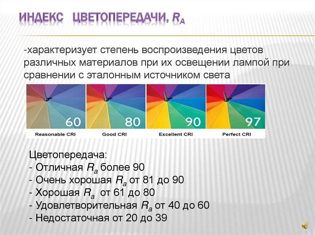 Индекс цветопередачи. что это такое, в чем измеряется. у какого источника света лучше цветопередача