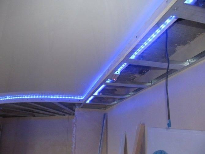 Подсветка на потолке из гипсокартона