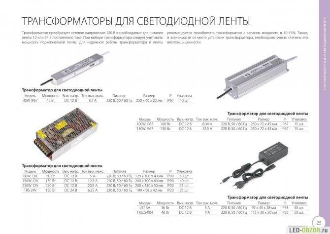 Расчёт и выбор блока питания для светодиодной ленты, типы бп