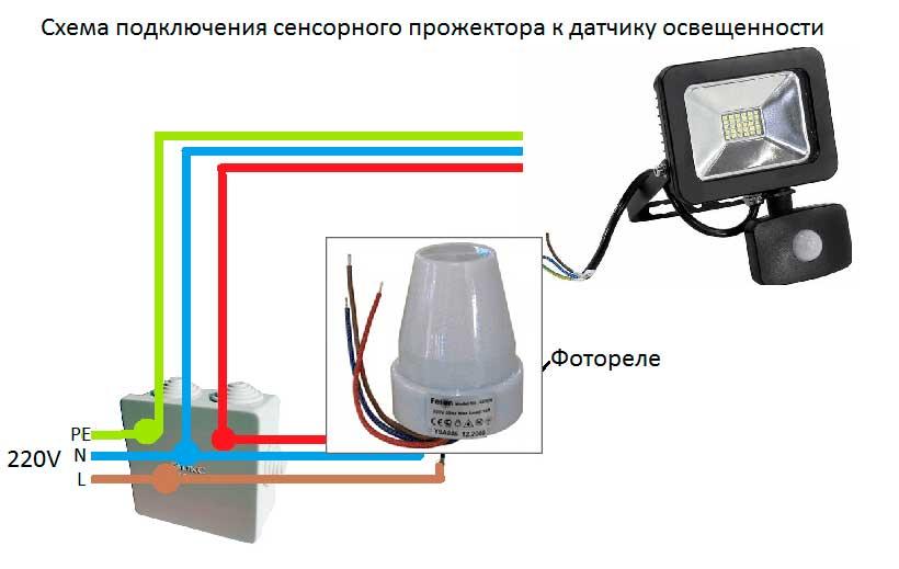 Подключение фотореле для включения освещения