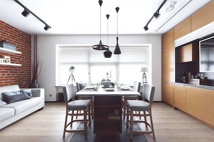 Освещение рабочей зоны на кухне и в гостиной над обеденным столом: как правильно организовать, люстры для маленьких кухонь  - 30 фото
