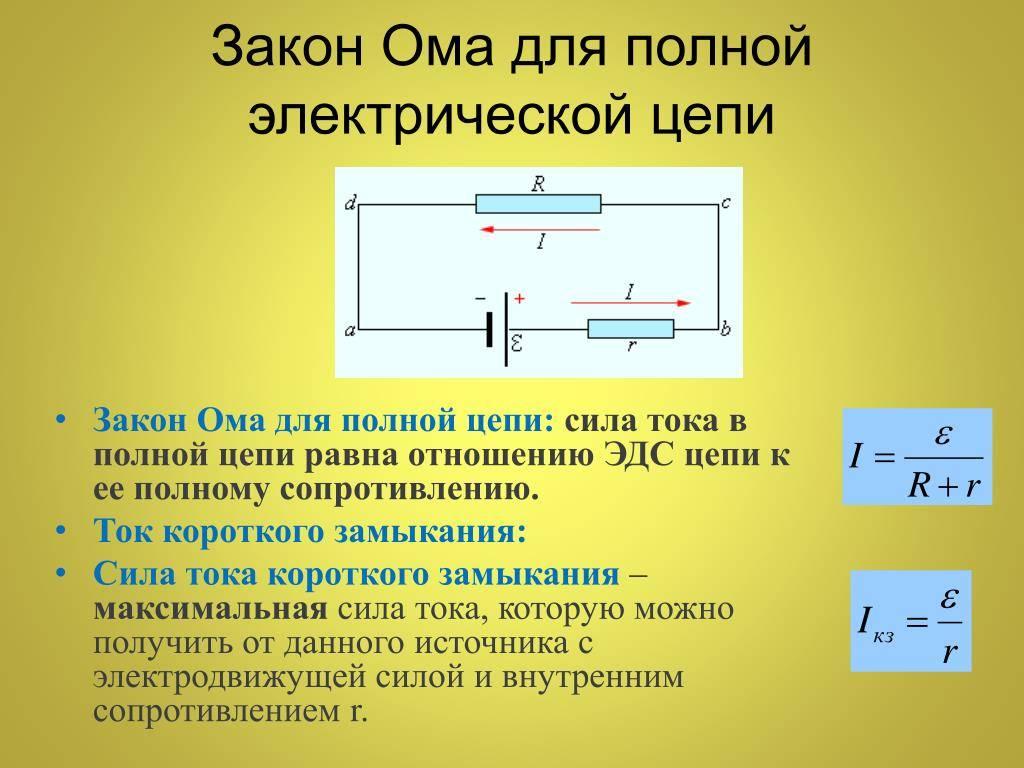 Формулировка закона ома для полных замкнутых цепей и электрических контурах