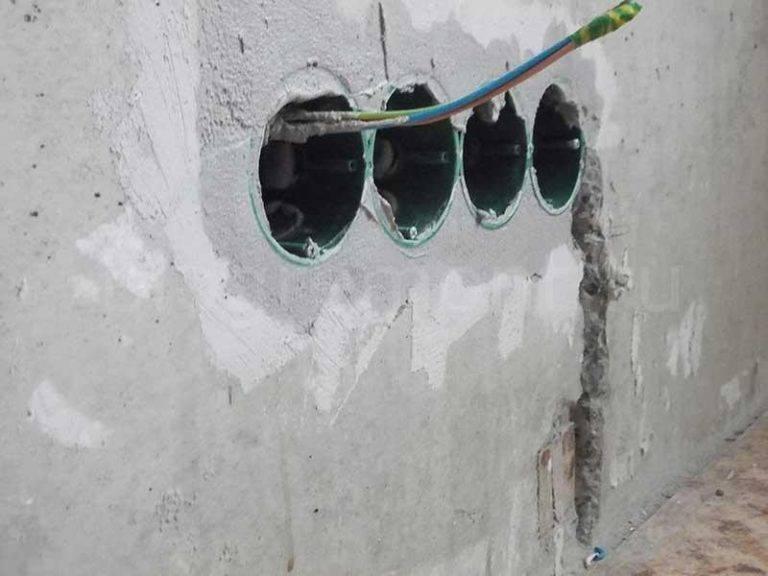 Все тонкости установки подрозетников в бетонную стену, от монтажа до диаметра коронки