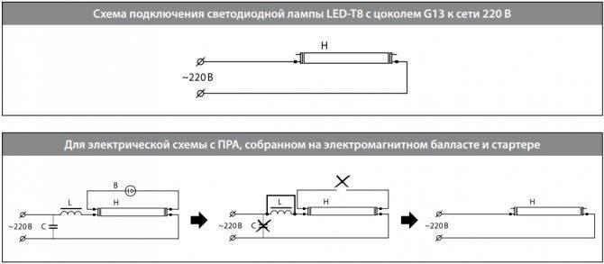 3 схемы подключения люминесцентной лампы без дросселя и стартера.