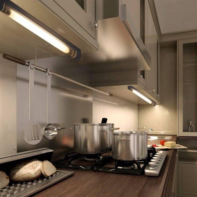 Подсветка для кухни под шкафы, какую выбрать, примеры