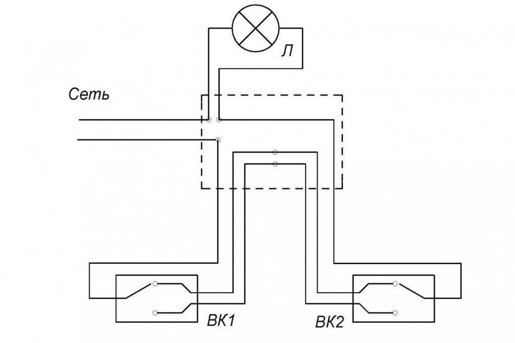 Проходной выключатель схема подключения на 1 лампу - tokzamer.ru
