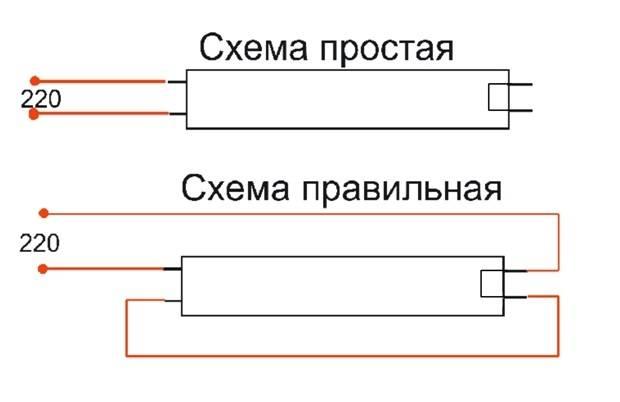 Замена люминесцентных ламп на светодиодные: как переделать, схема подключения диодной лампы напрямую