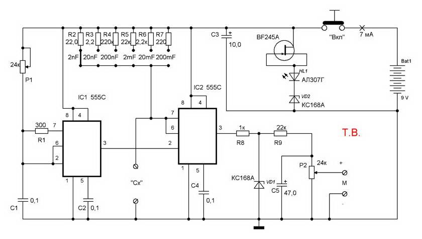 Измеритель емкости конденсаторов своими руками: принцип, схема