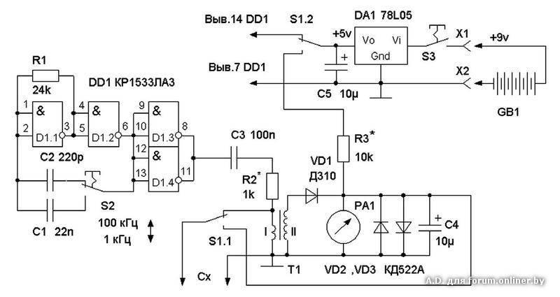 Цифровой измеритель емкости электролитических конденсаторов (без выпаивания из схемы)