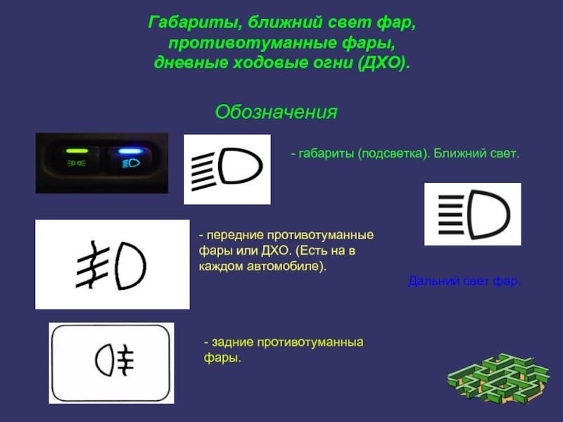Обозначение значков на панели приборов, символов, индикаторов автомобиля