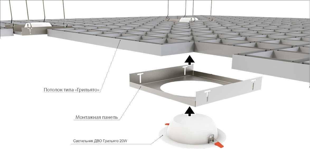 Установка и подключение светильников в потолках типа армстронг.