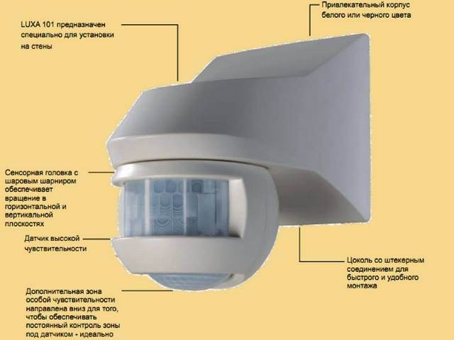 Схема подключения датчика движения для освещения