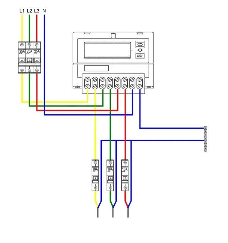 Трехфазный счетчик, однофазная сеть: схема подключения