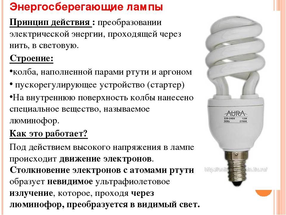 Энергосберегающие лампы: виды и характеристики
