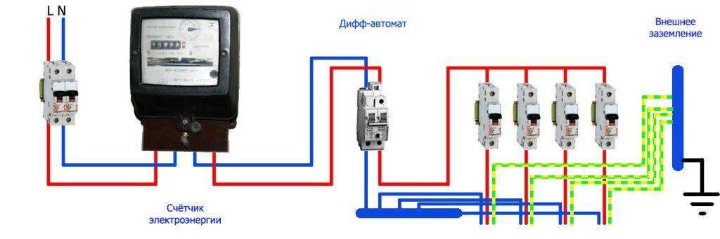 Подключение дифавтомата: схема с заземлением и без заземления