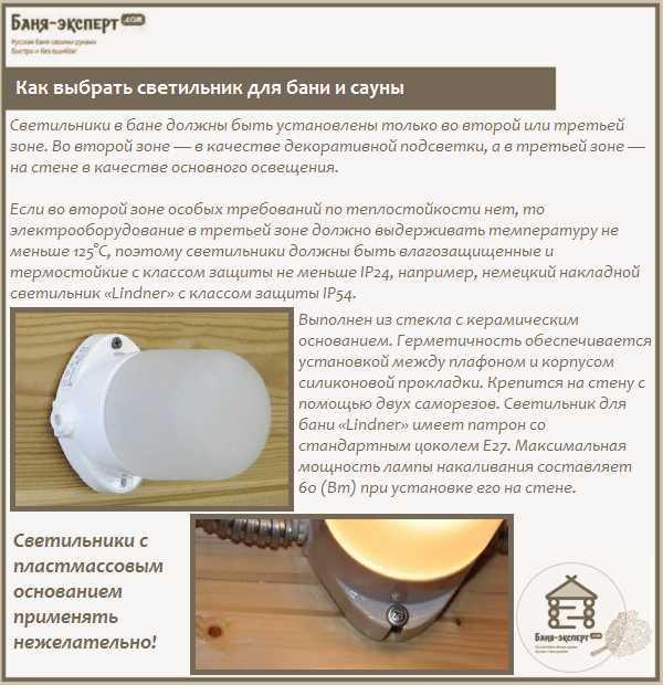 Как выбрать и установить безопасный светильник для бани в парилку