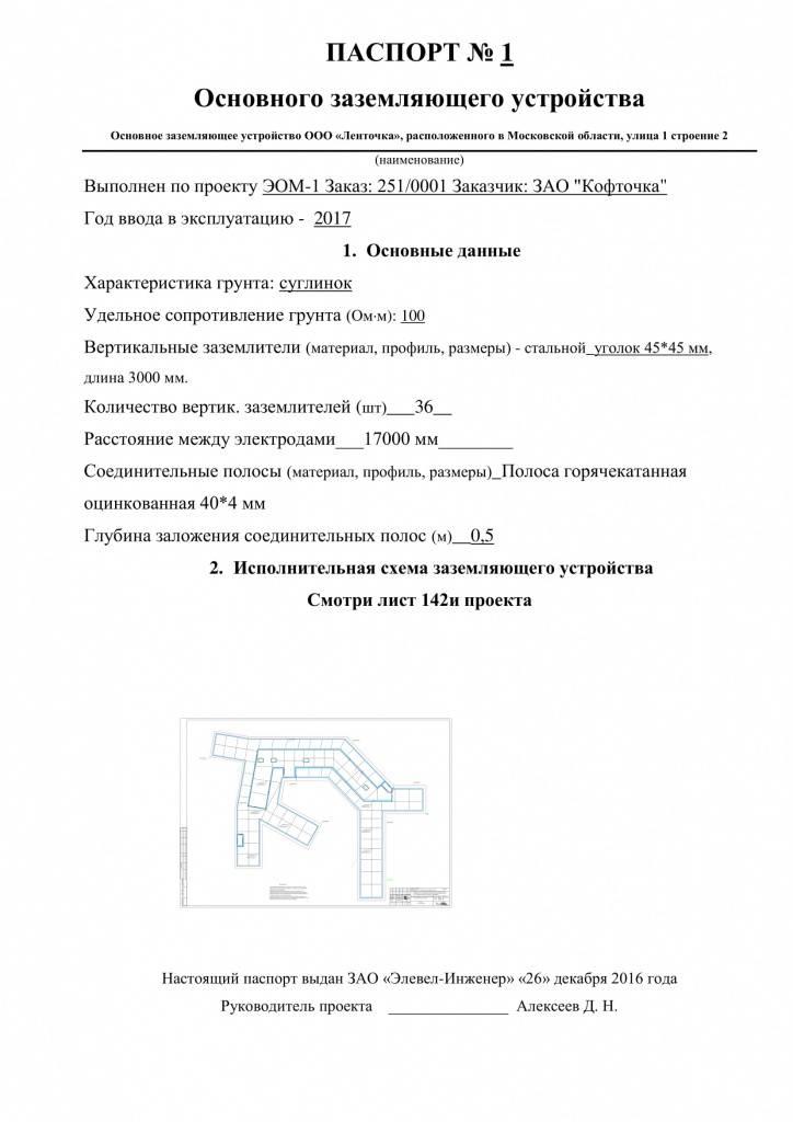 Паспорт заземляющего устройства. форма n 24