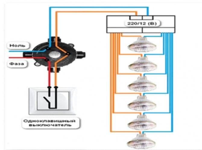Как подключить галогеновые лампы на 220 вольт. галогенные лампы с подключением через трансформатор и потолок как звездное небо