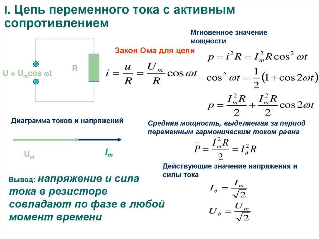 Активное, емкостное и индуктивное сопротивление. закон ома для цепей переменного тока