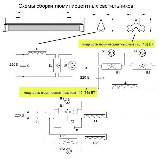 Cхема подключения люминесцентной лампы: с дросселем и стартером, для чего нужен дроссель