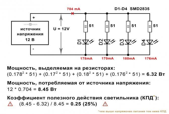 Подключение светодиода к 12 вольтам в машине (расчет сопротивления) (видео)