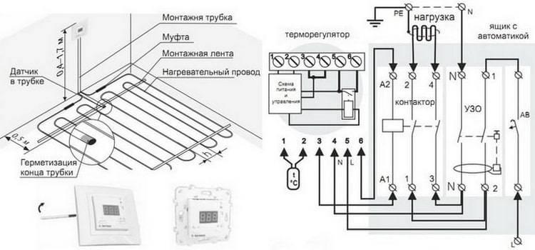 Монтаж и укладка нагревательных матов - схема подключения терморегулятора теплого пола