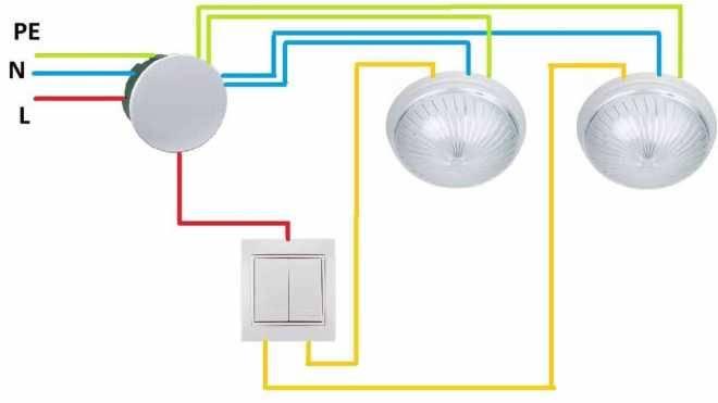 Как подключить двойной выключатель на две лампочки (двухклавишный): схема и видео подключения как подключить двойной выключатель на две лампочки (двухклавишный): схема и видео подключения
