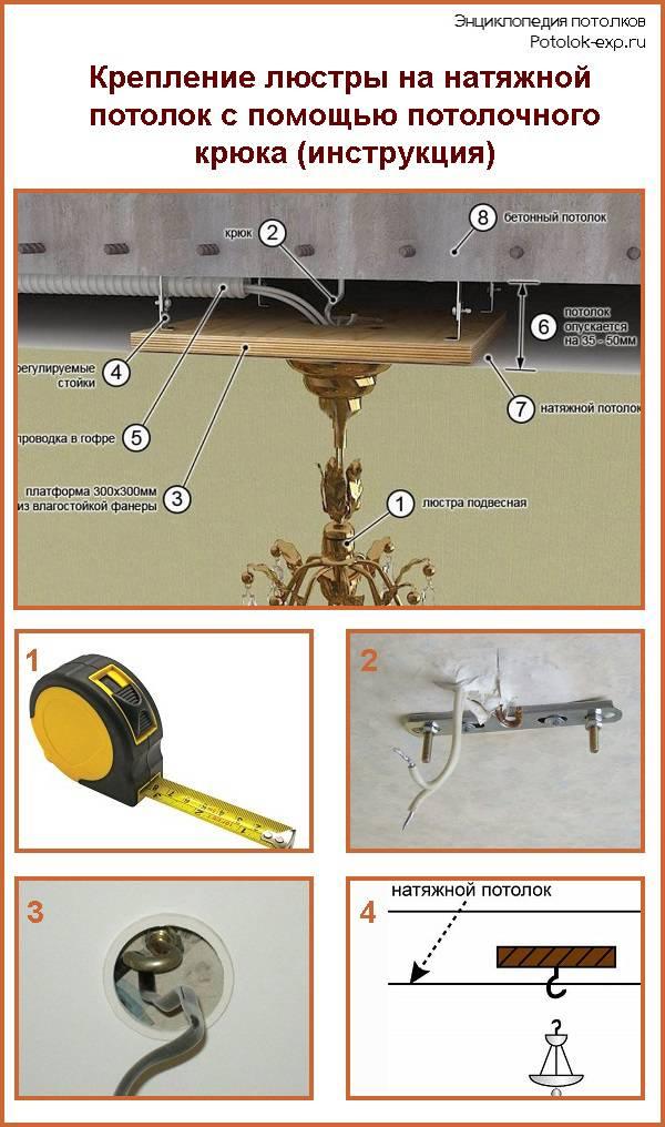 Монтаж люстры на натяжной потолок: основные этапы самостоятельной установки