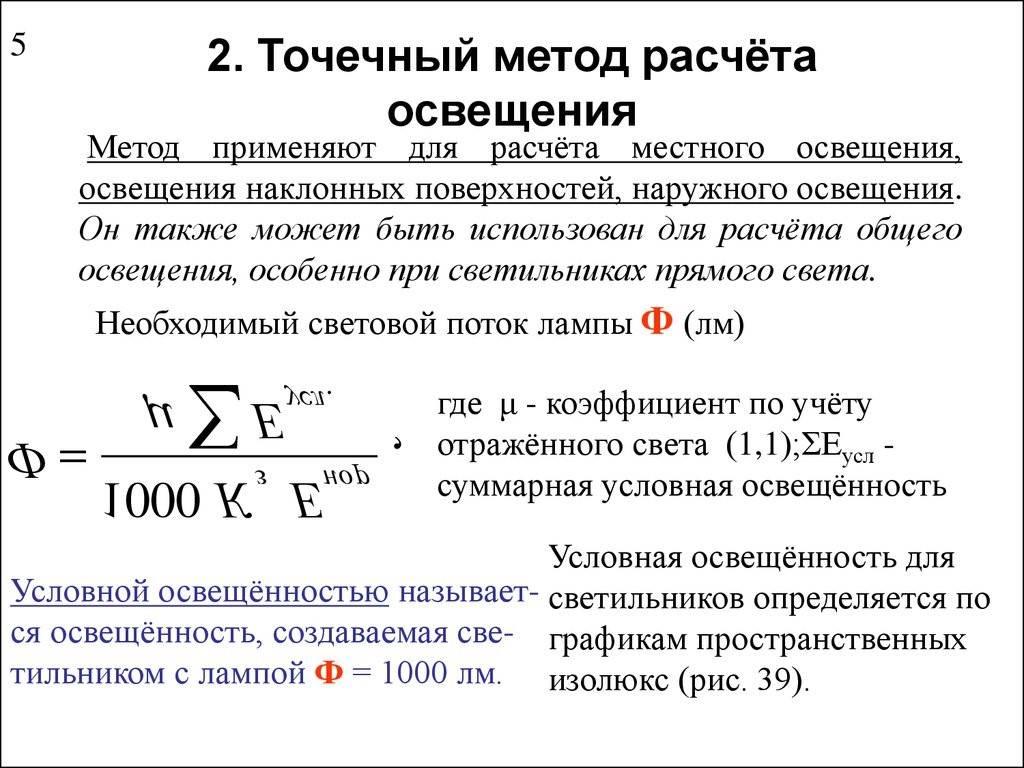 Методы расчета искусственного освещения / публикации / элек.ру