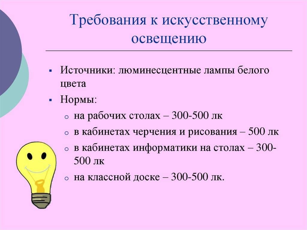Нормы освещенности и требования к освещению