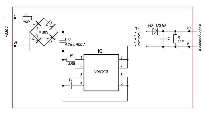 Схемы и ремонт драйверов светодиодных прожекторов – самэлектрик.ру
