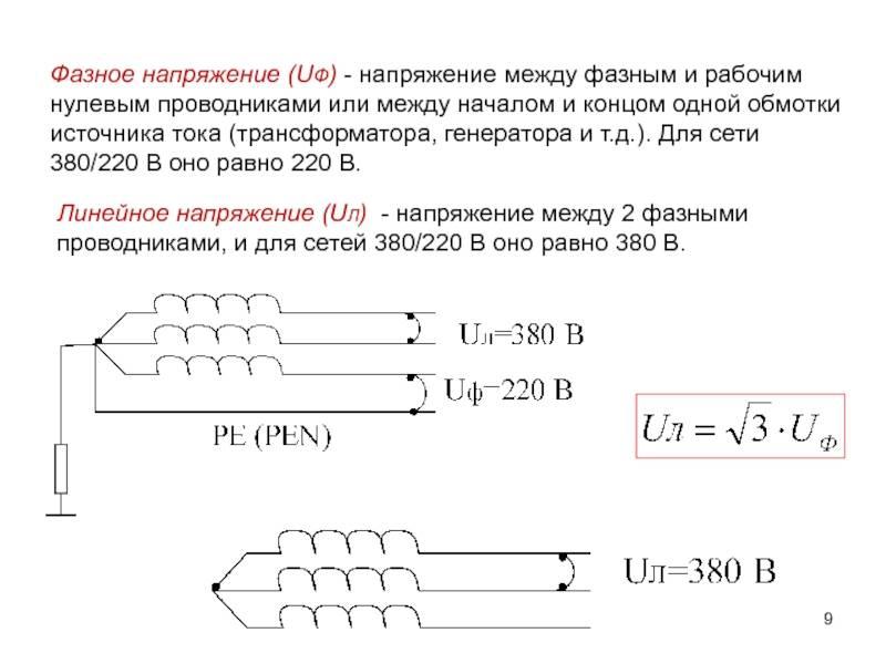 Линейное и фазное напряжение - соотношение и формулы, схема соединения звездой и треугольником