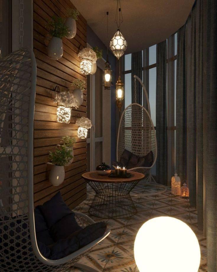 Освещение на балконе: разнообразие светильников и способов их размещения