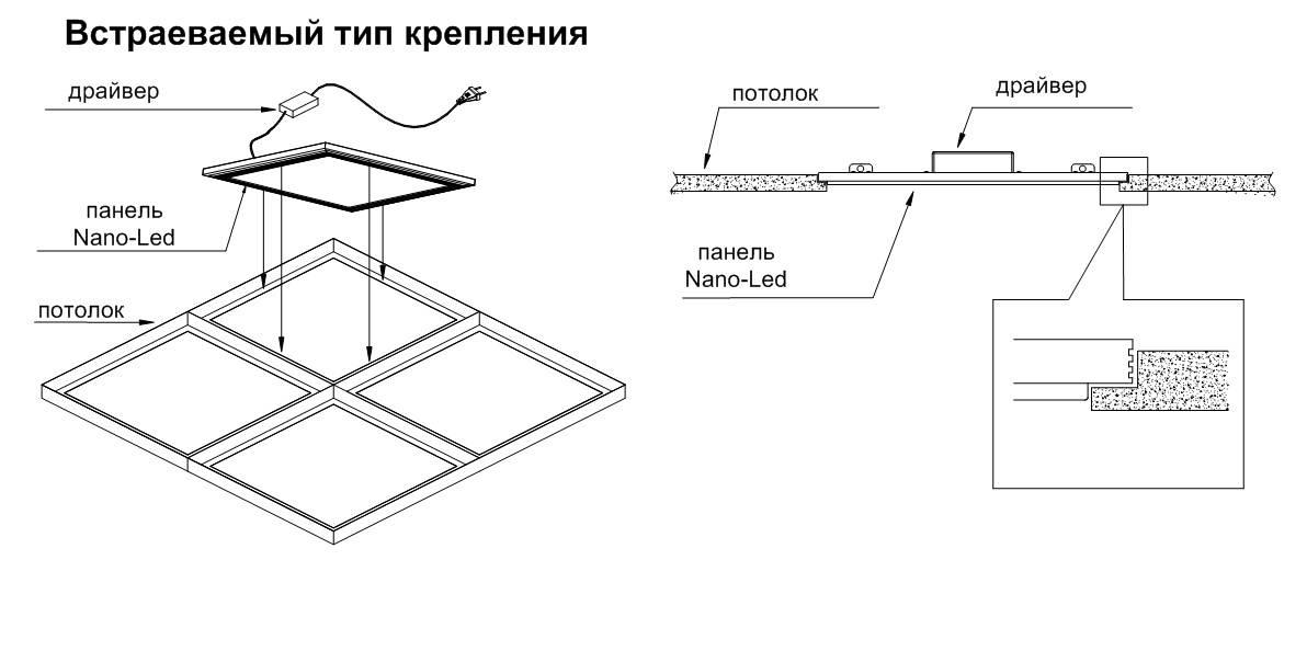 Установка квадратных светильников в натяжной потолок — 2 способа.