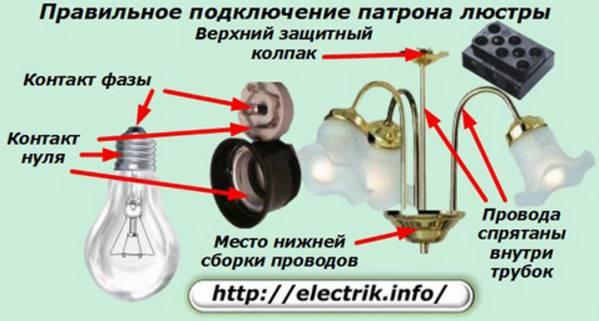 Как подключить патрон к проводам на потолке для лампочки