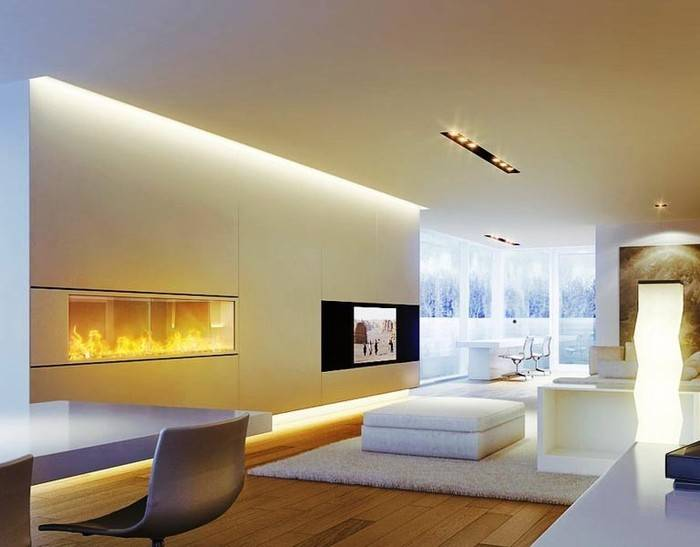 Правильное расположение светильников на натяжном потолке в гостиной и зале